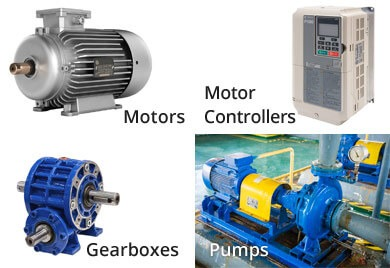 Collage of motors, motor controllers, gearboxes, and pumps